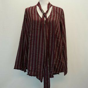 Melissa McCarthy Tie Front Long Sleeve Blouse Top